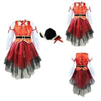 Ladies Glitzy Red//Black Pirate Hen Do Fancy Dress Costume Outfit 8-30 Plus Size