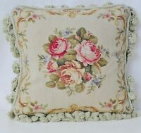 """16"""" x 16'' Handmade Wool Needlepoint Floral Roses Cushion Cover Pillow Case"""