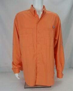 Columbia PFG Long Sleeve Button Down Shirt Orange Men's XL