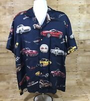 Paradise Found General Motors Blue Vintage Corvette Cars Hawaiian Aloha Shirt XL