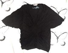 Desigual schönes Tunika Shirt schwarz Flechtdetails Flatterärmel Gr.L