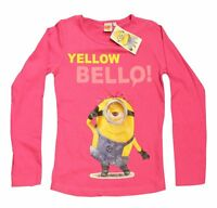 Girls Minions Long Sleeve T shirt Summer Pink Grey Tops Ages 4 years to 10 years