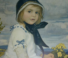 Jugendstil Mädchen Porträt Freilichtmalerei Signatur C. Max Mädchenporträt