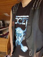 Lederweste Kutte Biker Rocker Metal Schwarz Mit Ketten