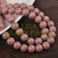 Hot 50pcs 8mm Round Black Stripes Charm Loose Spacer Glass Beads Brown