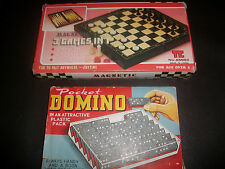 Vintage Magnetic Travel Chess Backgammon Checkers Set + Dominoes Set Free P+P
