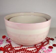 Mixing Bowls Set of 2 Nesting Earthanware Pink/White Stripe