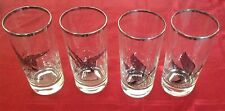 VINTAGE PLATINUM TRIM CANVASBACK & CANADA GOOSE HIGHBALL GLASSES Set Of 4