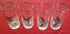 VINTAGE PLATINUM TRIM CANVASBACK & CANADA GOOSE HIGHBALL GLASSES Set Of 4