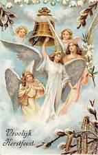 Vroolijk Kerstfeest! Merry Christmas Lily of the Valley Angel Cherubs Bell 1910