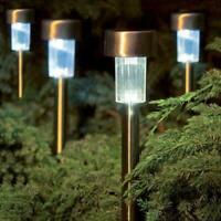 LED Solar Powered Stake Lights Outdoor Garden Patio Post Lantern Lamp White