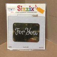 "SIZZIX ""FOR YOU""-SIMPLE IMPRESSIONS EMBOSSING FOLDER emboss /deboss/letterpress"