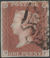 1841 SG8 1d RED BROWN PLATE 22 VERY FINE USED 4 MARGIN CLEAR PROFILE MISIMP (SF)