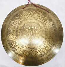 "F1051 Very Artistic Large Tibetan-Nepalese Hand Etched Temple Gong 21"" MI Nepal"