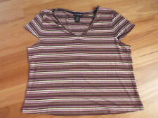 LADIES CUTE BROWN & PINK STRIPED SLEEVELESS ACRYLIC TOP BY CROSSROADS - SIZE 14