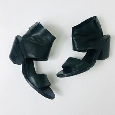 Eileen Fisher leather black sandals stacked heels women's size 8.5
