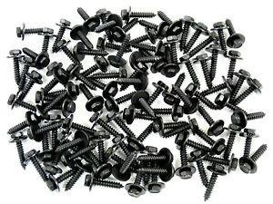 Black Trim Screws- M4.2 x 20mm Long- 7mm Hex- 12mm Washer- 100 screws- J#224H