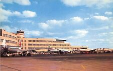 Pittsburgh PA Airport Terminal Four TWA & Other Prop Airplanes Postcard