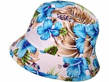 WHITE FLORAL HAWAIIAN PRINT BUCKET HAT FLOWER BOONIE CAP BEACH FISHING OUTDOOR
