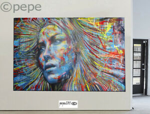 street art painting  large Modern Rainbow Hair Girl graffiti urban huge 2000mm
