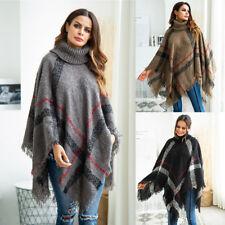 Women Loose Batwing Wool Poncho Winter Warm Coat Jacket Cloak  Parka Outwear