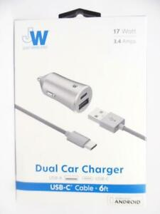 Just Wireless Dual Car Charger USB-C & USB-A with 6ft Charging Cable Space Grey