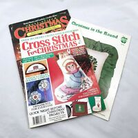3 Christmas Cross Stitch Magazines Lot Vintage Pattern Chart Stocking Santa Gift