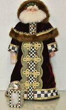"NEW Mackenzie Childs Yuletide Manor Santa Doll Velvet Courtly Check 27"" Tall"