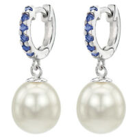 Sterling Silver Huggie Blue Sapphire and 9-9.5mm White Pearl Dangle Earrings