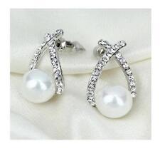 Women's Stud Earrings Cuffs Silver Fill Clear Box White Faux Freshwater Pearl UK