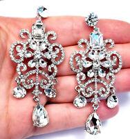 Rhinestone Chandelier Drop Earrings Bridal Prom Pageant Jewelry 3 inch Clear