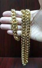 "26"" 14K Gold Finish Sterling Silver Miami Cuban Link Chain, 12 mm 250 grams"