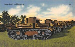 US Army Tank Line Up Ready for Maneuvers Military linen postcard