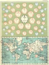 TIME OF ALL NATIONS. predates UTC/standard hourly time zones. JOHNSTON 1899 map