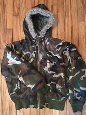 Raw Blue Lady Womens Large Bomber Coat Camouflage Hood 5 Pockets Greens