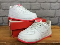 NIKE UK 9.5 EU 27 AIR FORCE 1 WHITE NEON PINK TRAINERS CHILDRENS GIRLS T