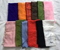 12 Vintage Scarves All Solid Colors pink black orange green Silk Polyester