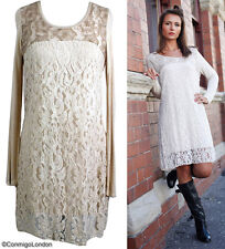 Made in Italy - goITT194BA - Cream Fitted Lace Dress