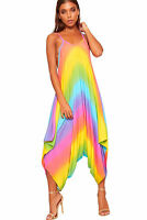 Womens Strappy Multi Coloured Baggy Stretchy Romper Suit One Size Ladies New8-22