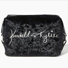 NEW Kendall Kylie Black Velvet Cubed Cosmetic W/ Dust Bag
