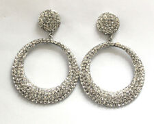Butler and Wilson Clear Crystal Small Flat Hoop Earrings NEW