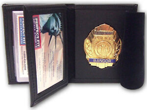 Recessed Badge Wallet with Double I D  window and CC Slots 262/ Holds MCSO in TN