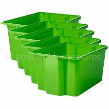 5 x IKEA GLES Green Plastic Storage Boxes/Toy Crates (28x38x20cm)