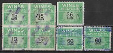 1942 US WINES REVENUE Set of 7 Stamps (Scott # RE127,135,140)
