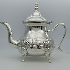 Handcrafted Medium Moroccan Teapot Brass Silver Plated Tea Pot