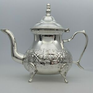 Handcrafted Medium Moroccan Teapot Brass Silver Plated Tea Pot