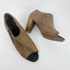 Lucky Brand Pabla Peep Toe Bootie Size 8 Brown Heels Leather Shoes