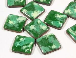(12) 12mm vintage Czech green marbled enamel glass over metal mosaic cabochons