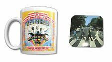 "THE BEATLES ""MAGICAL MYSTERY"" WHITE COFFEE MUG W/ COASTER COLLECTIBLE NEW NIB"