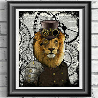 Lion Steampunk Print Vintage Dictionary Page Wall Art Picture Animal Top Hat